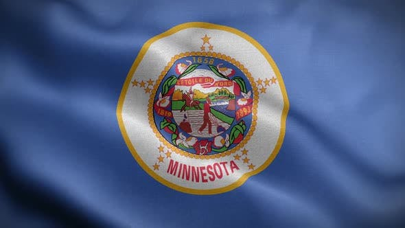 Minnesota State Flag Blowing In Wind