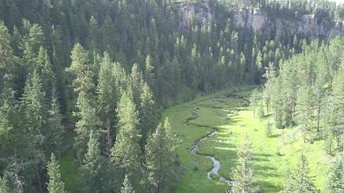 River or Stream Black Hills in Summer Winding Lazy in South Dakota