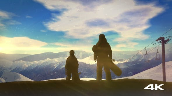 Thumbnail for Family With Snowboards At The Top Of The Mountainside