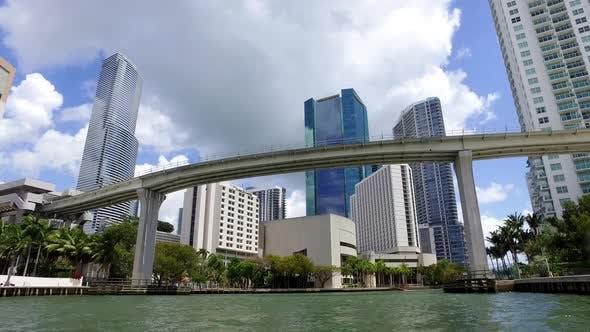 Thumbnail for Miami Florida Usa Yachting In Miami River Under Bridge