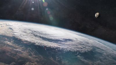 Hurricane In The Atmosphere Of Planet Earth As Seen From Orbit