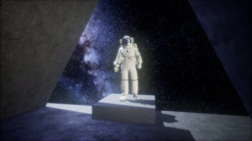 Astronaut on Space Base in Deep Space