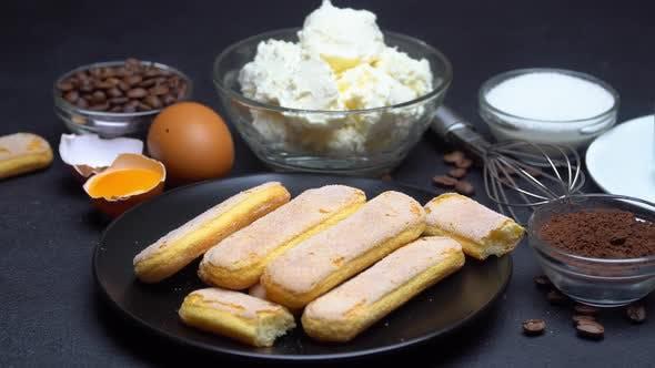 Thumbnail for Ingredients for Cooking Tiramisu - Savoiardi Biscuit Cookies, Mascarpone, Cream, Sugar, Cocoa