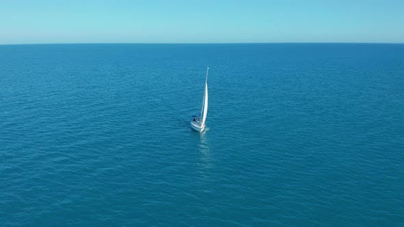 Thumbnail for Aerial View. Traditional Yacht Sailing Across Sea.