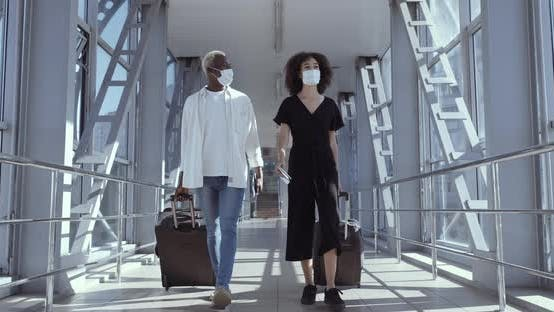 Thumbnail for Full Length Shot African American Couple Friends Cool Black Guy and Ethnic Woman in Medical Masks