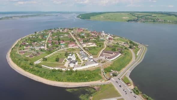 A Religious Town-island Sviyazhsk in Russia Surrounded By the River - Several Religious Buildings
