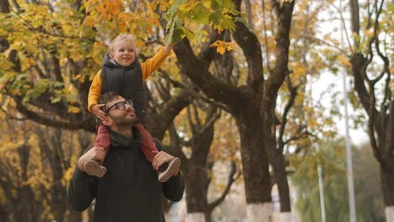 Thumbnail for Happy Son and Father Are Walking in Forest at Autumn, Baby Is Sitting on Shoulders of Dad and
