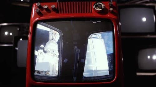 The Cupola (ISS module) and Earth as Seen on a Red Old TV Set.