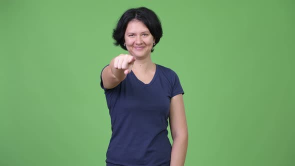 Thumbnail for Beautiful Woman with Short Hair Pointing To Camera