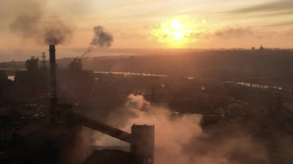 Thumbnail for Aerial View Over Industrialized City with Air Atmosphere. Dirty Smoke and Smog From Pipes of Steel