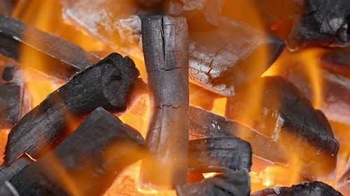 Charcoal BBQ fire