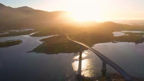 Norvegian bridge at sunset