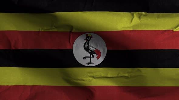Uganda Flag Textured Waving Background 4K
