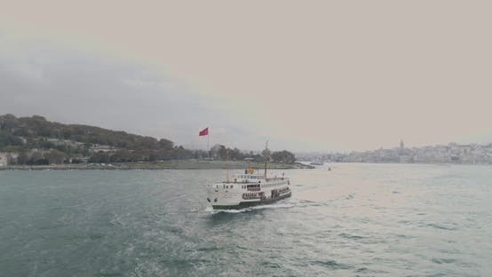 Thumbnail for Ferry Sailing Bosphorus Aerial View