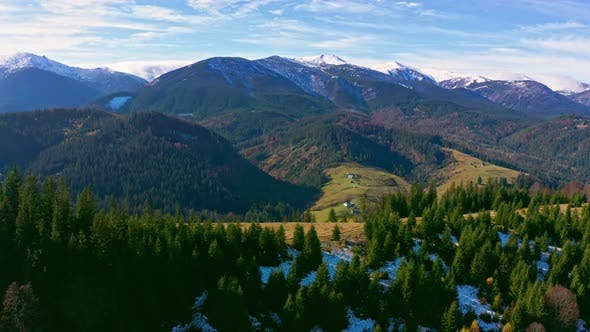 Small Village in the Beautiful Mountain Valley of the Carpathian Mountains in Ukraine in the Village