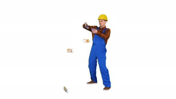 Thumbnail for Comic Builder in a Hard Hat Throwing Euro Money in the Air on White Background.