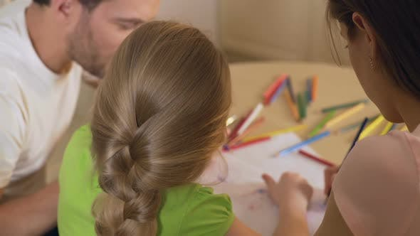 Thumbnail for Family Drawing Colorful Pictures With Pencils, Parents Enjoying Time With Kid