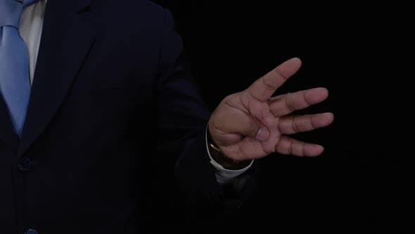 Cover Image for Business Man 4 Fingers Hand Count
