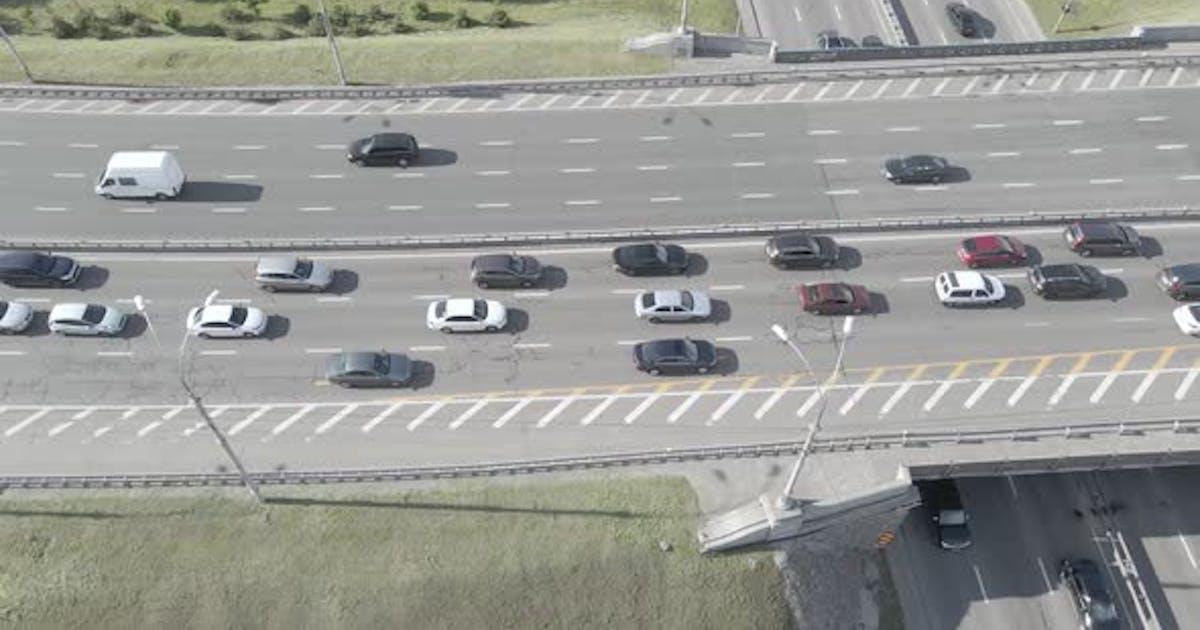 Kyiv. Ukraine: Road Junction. Aerial View, Flat, Gray