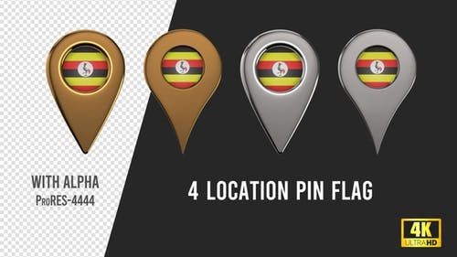 Uganda Flag Location Pins Silver And Gold