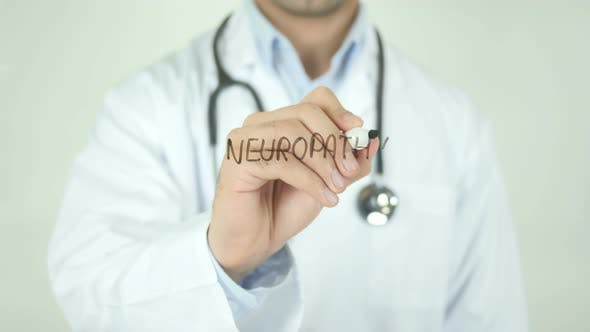 Thumbnail for Neuropathy, Doctor Writing on Transparent Screen