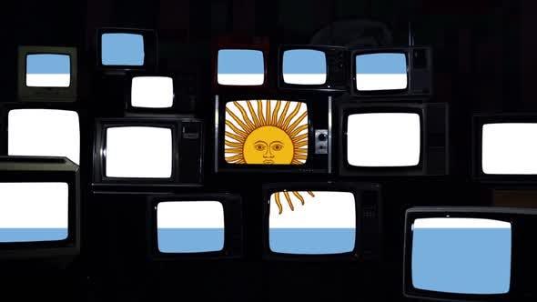 Argentina Flag on Vintage TV Stack.