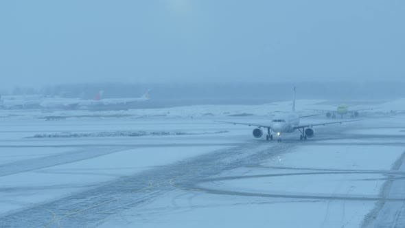 Thumbnail for Aircraft Entering the Airport During Winter