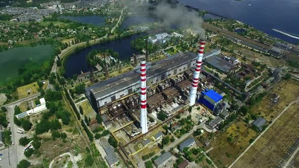 Thumbnail for Thermal Power Plant Aggregate with High Smokestacks