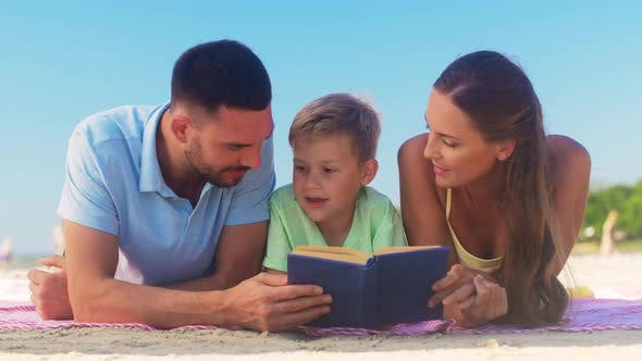 Thumbnail for Family Reading Book on Summer Beach