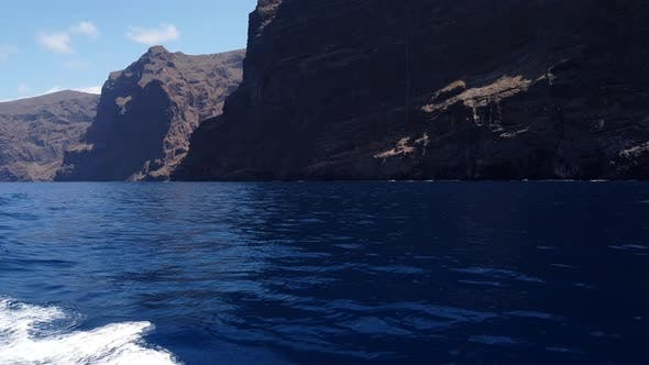 Rocks of Los Gigantes and Atlantic Ocean from Yacht, Tenerife, Spain