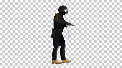 Riot policeman hitting shield with the, Alpha Channel