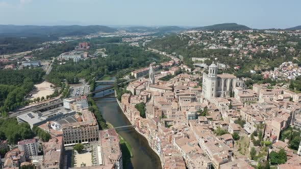 Thumbnail for Drone Flight Over Old Town and River Onyar, Girona