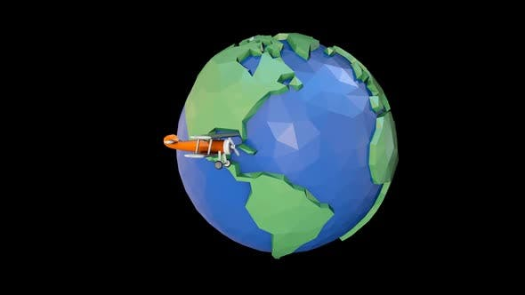 Low Poly Earth and Toy Plane