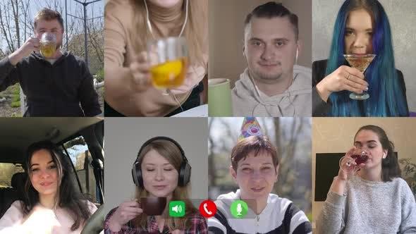 Thumbnail for Acht Leute gratulieren Kollegen mit Geburtstag im Video Chat