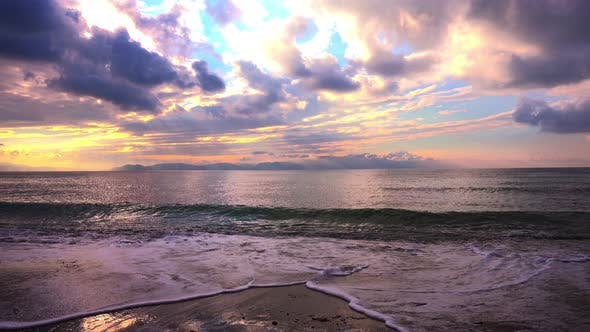 Thumbnail for Beautiful Sunset with Clouds and Sea Waves Foam