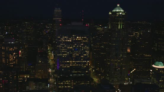 Seattle Washington Nighttime Helicopter Angle Aerial Panoramic Shot Helicopter View Downtown Urban