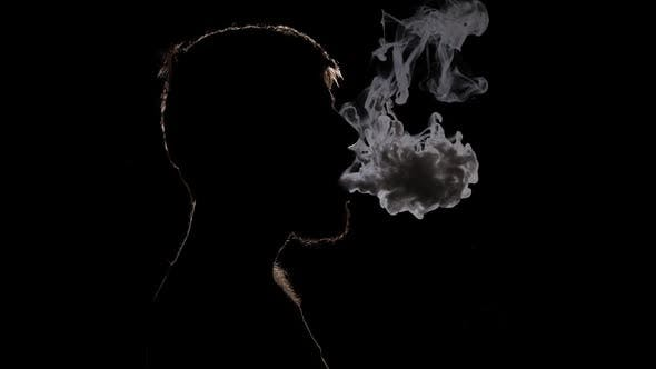 Thumbnail for Young People and Smokers, Bearded Man Smoking E-cigarette. Black. Silhouette