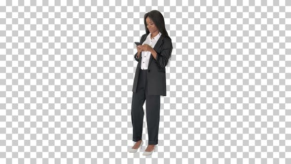 Thumbnail for Beautiful black businesswoman texting, Alpha Channel