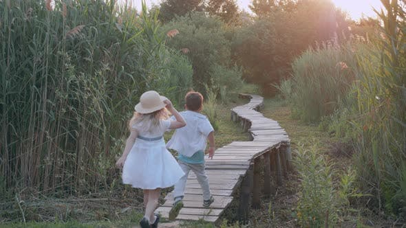 Thumbnail for Children Games, Happy Little Boy and Girl Play Catch-up and Run on Wooden Bridge Among Green High