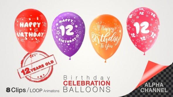 12th Birthday Celebration Balloons / Twelve Years Old