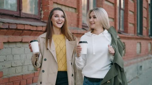Happy Pretty Girls Are Walking Around the City Together. Teen Friends Are Talking and Laughing