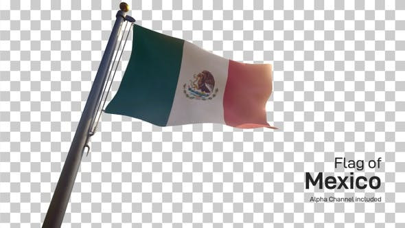 Mexico Flag / Mexican Flag on a Flagpole with Alpha-Channel