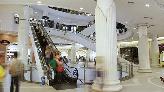 Thumbnail for Anonymous People On Escalator Timelapse