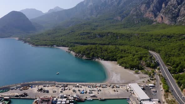 Aerial Drone View of the Mountains and Sea Bay