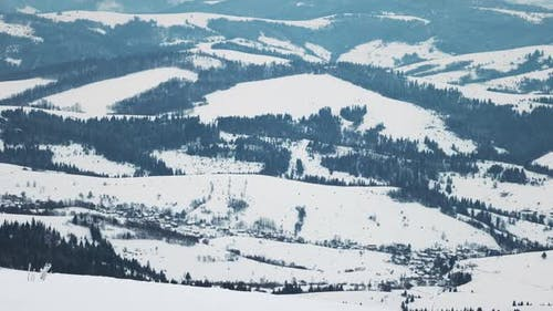 Large Hills Covered with a Carpet of Snow and Fir Forests Against the Backdrop of a Cloudy Sky and
