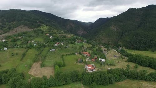 Aerial Scene of Village in the Mountains of Serbia