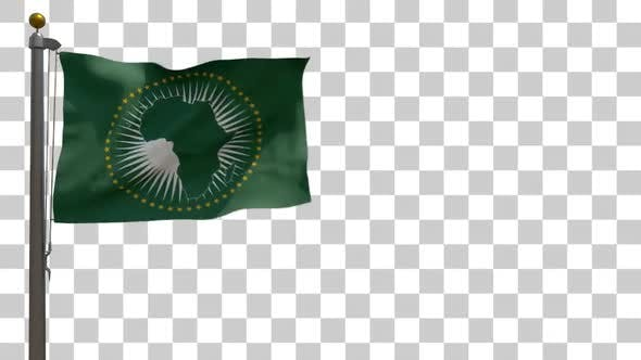 African Union Flag on a Flagpole with Alpha Channel - 4K