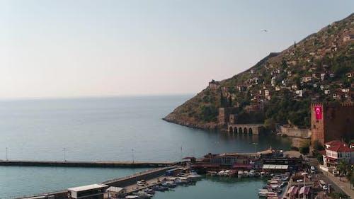 Antalya City Beach Castle And Walls Aerial