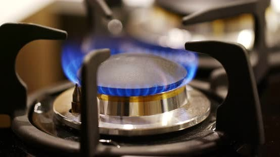 Thumbnail for Gas burner on the stove in the kitchen