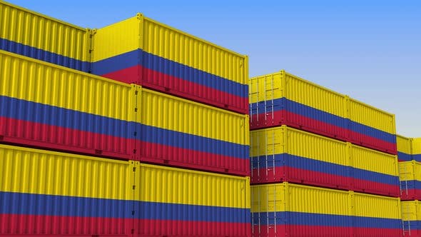 Thumbnail for Container Terminal Full of Containers with Flag of Colombia